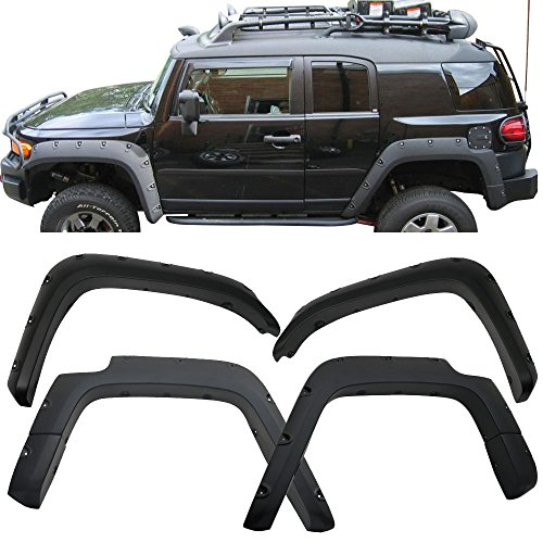 Fender Flares Fits 2007-2015 Toyota FJ Cruiser | Front Rear Right Left Sanded Wheel Cover Protector 4PC ABS by IKON MOTORSPORTS | 2008 2009 2010 2011 2012 2013 2014 (Right Rear Fender Flare)