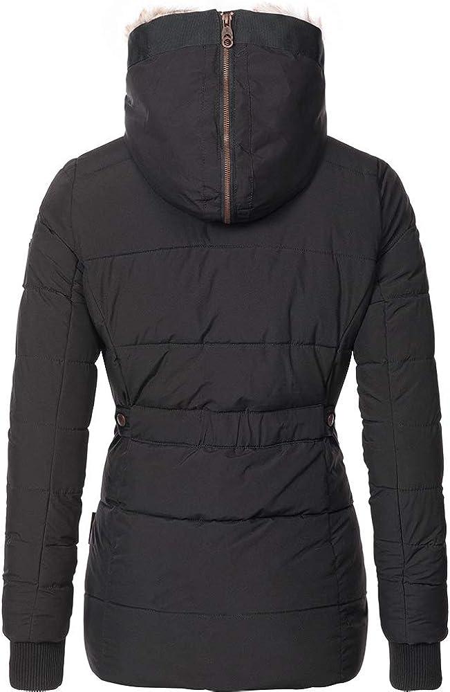 Remikstyt Womens Coats Winter Zipper Hooded Faux Fur Inside Down Jackets