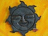 Sun Mexican Ceramic [Malaquita] Medium Size 12'' Plaque Folk Wall Art Decor (Made of Crushed Rocks) Folk Hangin Wall Art Decor [Hand made Mexico Artistry]