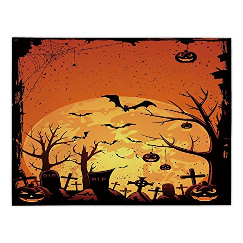 Polyester Rectangular Tablecloth,Halloween,Grungy Graveyard Cemetery Necropolis with Bats Pumpkins Crosses Cobweb Decorative,Orange Brown Black,Dining Room Kitchen Picnic Table Cloth Cover,for Outdoor ()
