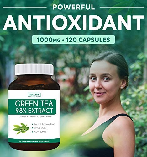 Green Tea 98% Extract with EGCG - 120 Capsules (Non-GMO) for Weight Loss & Metabolism Boost - Natural Diet Pills - Leaf Polyphenol Catechins - Antioxidant Supplement - 1000mg (500mg per Capsule) 4
