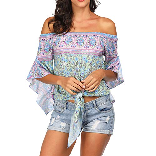 TnaIolral LadiesTop National Style Off Shoulder Beach Sunscreen Trumpet Sleeves Blouse (L, Purple) ()