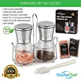 Premium Salt and Pepper Grinder Shakers (2-Piece Set) Modern Stainless-Steel Lids w/ Glass Body | Manual, Adjustable Ceramic Spice Crusher | Kitchen & Grilling Cooking Combo - by KitchyChef
