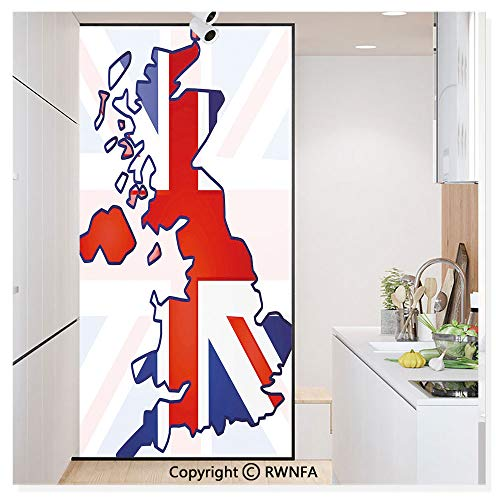 Window Films Privacy Glass Sticker Faded United Kingdom Flag and Country Map Composition Nations Symbols Static Decorative Heat Control Anti UV 30In by 59.8In,Violet Blue Red -