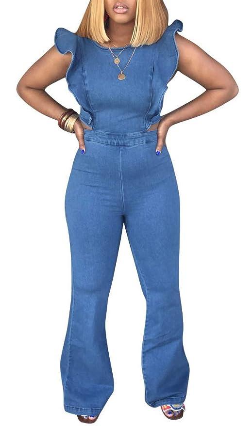 2c350caab8 Amazon.com  LROSEY Women s Sexy Off Shoulder Denim Jumpsuits Solid Wide Leg  Long Romper Pants with Pockets Plus Size  Clothing