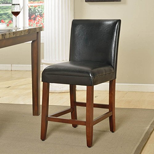 HomePop Parsons Leatherette Counter Height Chair 24-Inch, Black Leather