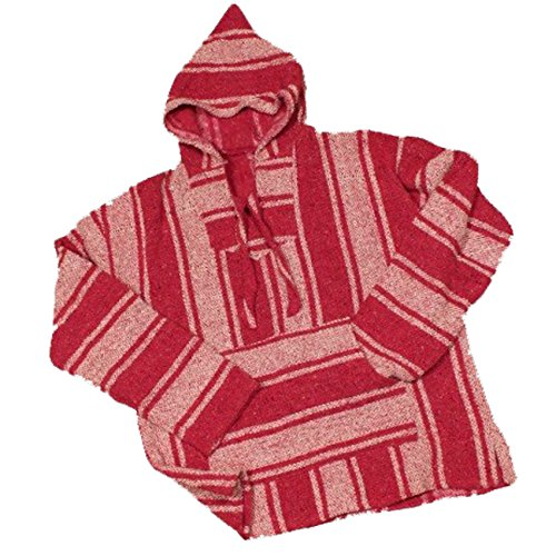 UNISEX BAJA BILLY'S CLASSIC MEXICAN WOVEN HOODIE PULLOVER PONCHOS (MEDIUM, PINK)
