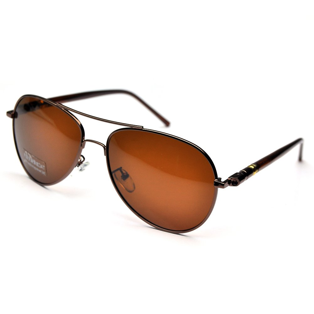 b2948ed5ff2 Amazon.com  PenSee Day Night Vision Sunglasses Glasses Anti-glare Driving  Eyewear Polarized Lens Rifle Frame (Brown)  Clothing