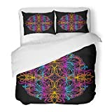 SanChic Duvet Cover Set Acid Lsd Dmt Meditation Psychedelic Narcotic Nature Flowers Pattern 60S Trippy Abstraction Mandala Decorative Bedding Set with 2 Pillow Shams Full/Queen Size