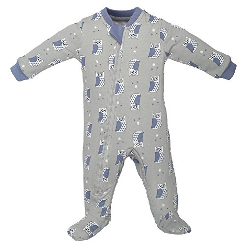 ZippyJamz Organic Baby Footed Sleeper Pajamas with Inseam Zipper for Quickier and Easier Diaper Changes ~ Cutie Hootie (18-24 (Glow In The Dark Skeleton Suit)