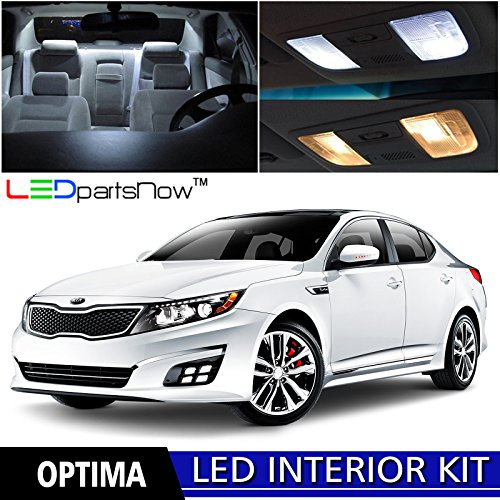 LEDpartsNow 2011-2017 KIA Optima LED Interior Lights Accessories Replacement Package Kit + Reverse + License Plate (12 Pieces), WHITE