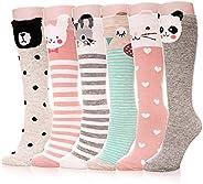 6 Pairs Knee Socks,Girls Socks Knee High Stockings Cartoon Animal Warm Cotton Socks