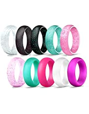 JewelryWe Pack of 10 Silicon Rings for Women Rubber Wedding Bands