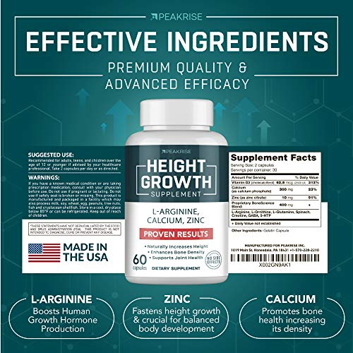 Height Pills - Natural Get Taller Supplement for Bone Grow - Made in USA - Grow Vitamins for Kids & Adults - Growth Pills with Calcium, Vitamin D3 - Height Increase Without Growth Hormone