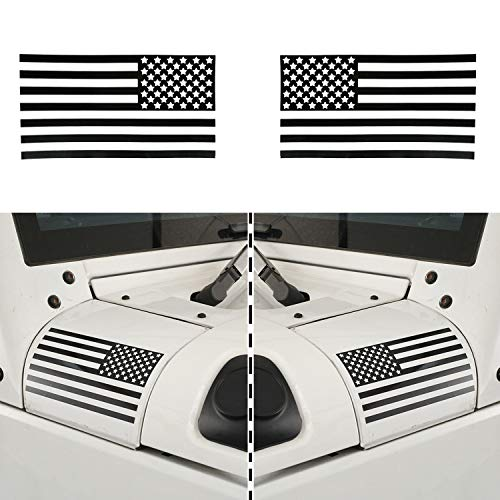 (Hooke Road American Flag Stickers, Cowl Body Armor Decals for Car Truck Jeep Wrangler YJ TJ JK Unlimited (Pair of Left&Right))