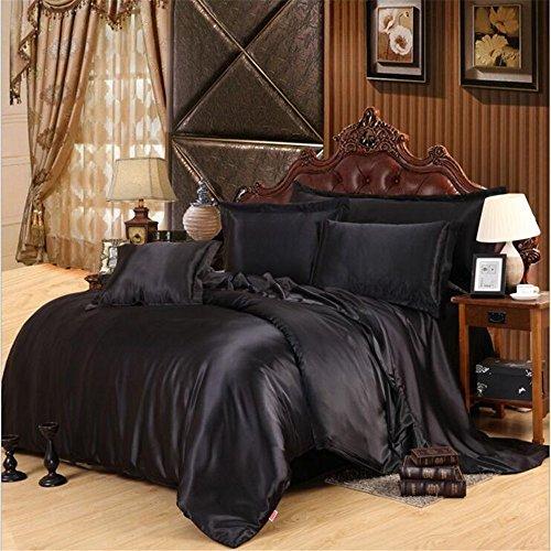 XiYunHan Multi-Color Solid Color Four-Piece Set, Silk Smooth and Comfortable Bedding, Queen, King.