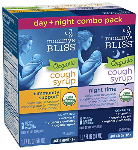 Mommy's Bliss Baby Organic Cough Syrup + Immune Support Day & Night Combo Pack 4 Months+ 3.34 Fluid Ounce (Best Medicine For Mucus)
