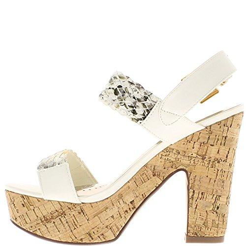 Sandali bianco grosso tacco 13cm e largo flange con piattaforma