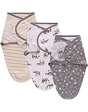 TURMIN Baby Swaddle Wraps för 0-6 månader filt för nyfödda 100 % andningsbart organiskt bomullstyg svadderande filtar justerbar spädbarn sovsäck, 3-pack