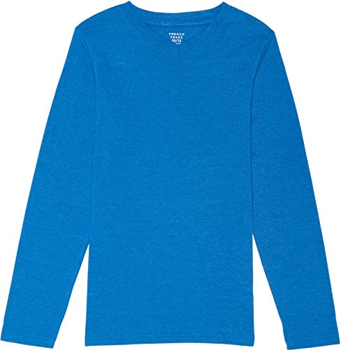 French Toast School Uniform Boys Long Sleeve V-Neck T-Shirt, Skydiver Heather, 6