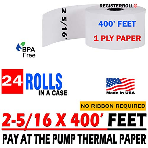 2 5/16 x 400 Thermal Paper Rolls - BPA Free (24 Rolls) Pay at The Pump Thermal Rolls - Made in USA from RegisterRoll