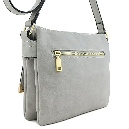 Crossbody Bag Compartment Flap Double Grey Pocket PvgqSxwR