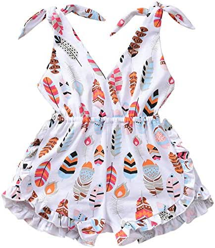 ASTRILL Toddler Kids Baby Girls Self Tie Sleeveless Feather Print Short Romper Jumpsuit