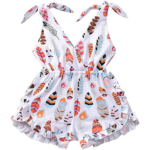 ASTRILL Toddler Kids Baby Girls Self Tie Sleeveless Feather Print Short Romper Jumpsuit White