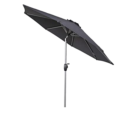 Ulax furniture 8 Ft Patio Outdoor Market Full Aluminum Umbrella with Push Button Tilt and Crank Dark Grey