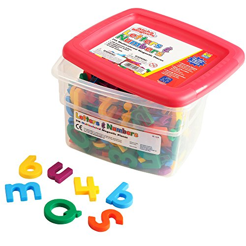 Educational Insights Multicolored Alphamagnets and Mathmagnets, 214 Pieces (Plastic Colored Tubs)