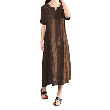 Courtes Manches Femme Mesdames à imprimée Robe Taille col V Coton en lâche ELECTRI Robe Grande rCBoedxW