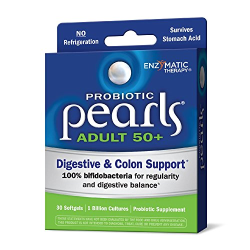 Enzymatic Therapy Probiotic Pearls Adult 50+ Digestive & Colon Support, 30 Once Daily Softgels, 30 Count by Enzymatic