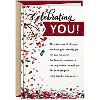 Religious Birthday Card Son Textured Red Leaf on Stone Walkway with Gold Foil