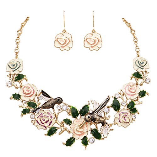 Rosemarie Collections Women's Beautiful Statement Enamel Floral Rose and Hummingbird Collar Necklace and Earrings Set