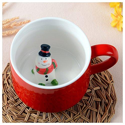 3D Cute Cartoon Miniature Merry Christmas Animal Figurine Ceramics Milk Cup - Baby Animal Inside, Best Home Office Cup & Christmas Gift (Christmas Hot Chocolate)