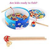 JPOQW Fishing Toy Fishing Game with Magnetic Rods Wooden Educational Game for Above 3 Years Old Kids Toddlers (Multicolor)