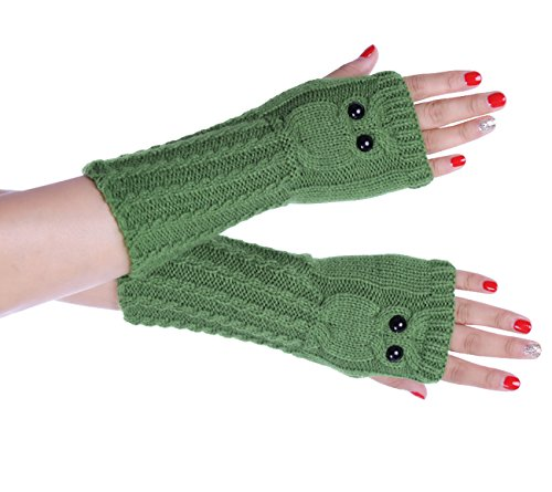 Owl Gloves (Yateen Women's Owl Cable Knit Arm Warmer Fingerless Gloves Thumb Hole Gloves Mittens)