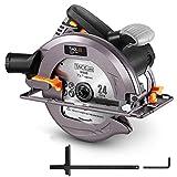 TACKLIFE Upgraded 15-Amp 1800W 7-1/2' Circular Saw with Lightweight Aluminum Guard, 24T Circular Saw Blade, Max Cutting Depth 2-1/2'(90°), 1-4/5'(45°), Dust Vacuum Port, 10 feet Power Cord - ECS01A