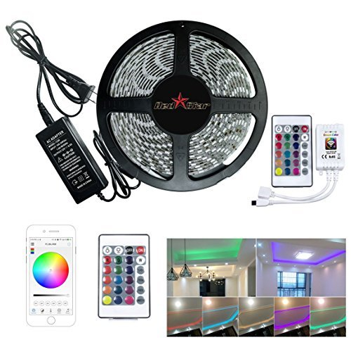 RedStar Led light strip Wifi Wireless Smart Phone Controlled Strip Light Kit 16.4ft 300 LEDS 5050 Waterproof IP65 LED Lights Working with Android and IOS System Alexa (300 LEDS) ()