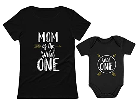 Wild One Mom Baby 1st Birthday Bodysuit Womens T Shirt Matching Set