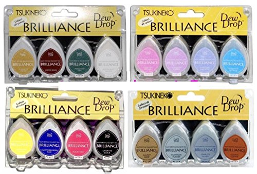 (Tsukineko 4 Sets of Brilliance Dew Drop Inkpads, Earthtone, Basics, Planetarium, Jewel Tone - 16 Individual Pearlescent & Metallic Pigment Ink Pads)