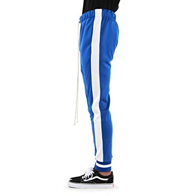 b7f813e7 EPTM New Men's Poly Ribbed Cuff Ankle Relaxed Fit Techno Track Pants (L,  Blue