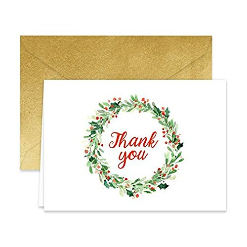 Paper Frenzy Holiday Wreath Thank You Note Cards and Gold Shimmer Envelopes 25 pack (Shimmer Card)