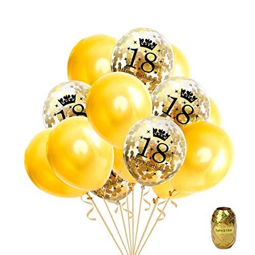 16 Pcs 18th Birthday Party Gold Balloon,Confetti Balloons Latex Balloon Printed with Happy Birthday and Number of 18,12 inch Perfect for 18 Years Old Birthdays Party,1 Pack Random Color String