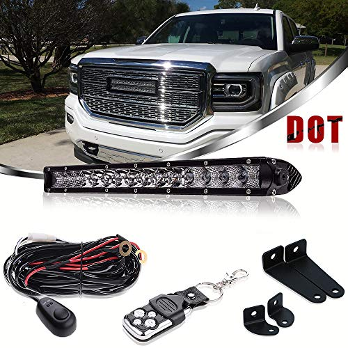 LED Light Bar Bumper Grill TURBOSII DOT Approved 17In Single Row Spot Flood Combo Beam Remote Control For Jeep Truck Silverado Rzr Golf Cart Offroad Suv Atv Dodge Ram Boat Ford Polaris Ranger Chevy
