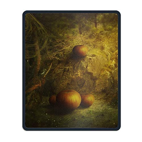 Mouse Pads with Design,with Stitched Edges,Halloween Pumpkin Non Slip Rubber Mouse Mat