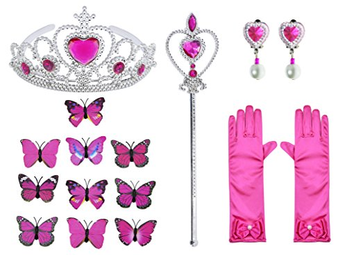 Princess Cinderella Dress Up Party Costumes with Deluxe Accessories Set 4-5 Years(Rose Red 110cm) by Party Chili (Image #5)