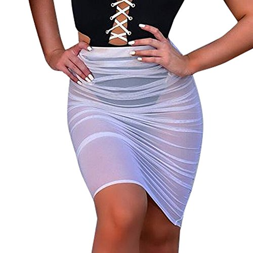 Colmkley Women's Sexy See-Through Midi Swimsuit Skirt Skinny Sarong Perspective White ()