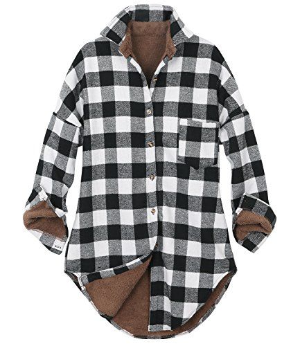 ililily Women Checkered Plaid Sherpa Lined Flannel Long Shirt Trucker Jacket (Medium, Buffalo Black White) (Park Flannel)