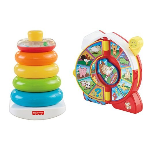 Fisher-Price Brilliant Basics Rock-a-Stack and Little People See 'n Say Farmer Eddie Says Bundle